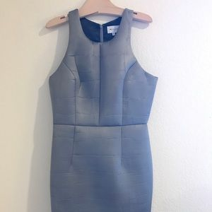 Gray Milly Crocodile-Embossed Sheath Dress